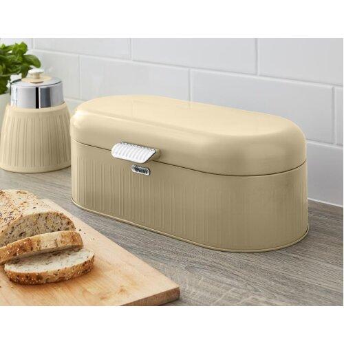 Swan Retro Bread Bin Kitchen Storage Easy Open Lid w/Chrome Plate Handle Easy Clean Generous Capacity - Cream