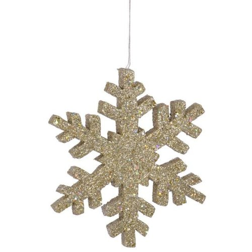 Vickerman L134411 Champagne Outdoor Glitter Snowflake Ornament - 8 in.