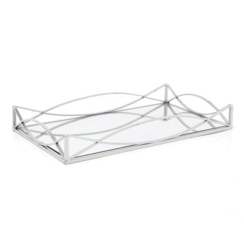 Art Deco Silver Mirrored Display Tray | Perfume Jewellery Cosmetic Organiser | Decorative Metal Double Vanity Dish 35cm