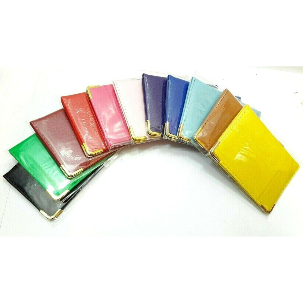 (DARK RED) 12 PCS TRAVEL CARD OYSTER RAIL BUS PASS BANK ID HOLDER SYNTHETIC LEATHER COVER WALLET CASE