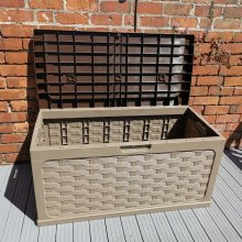 335 Litre Rattan Style Garden Cushion Storage Box with Sit on Lid in Dark Drown