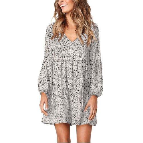 (White, M) Womens Casual Tunic Dress Leopard Ruffle V-Neck Flowy Swing Loose Shift Tunic Dresses