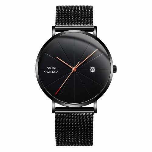 OLMECA Men's Watches Fashion Simple Watches Ultra Thin Wristwatches Waterproof Quartz Men Watches Date Watch for Men Black Color