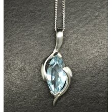 Blue topaz gemstone marquise pendant necklace, solid Sterling silver.