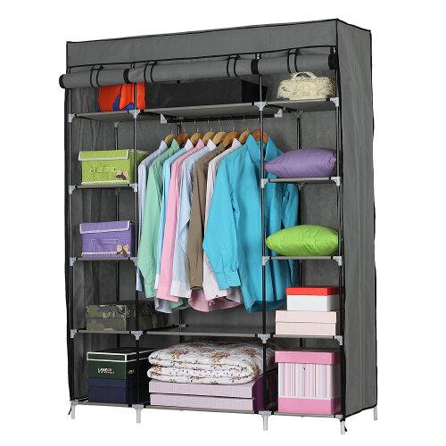 5-Layer 12-Compartment Non-woven Fabric Wardrobe Portable Closet Gray (133x46x170cm)