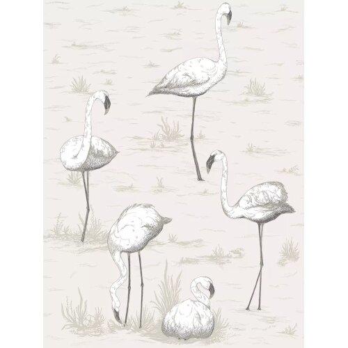 Cole & Son 95/8046 Flamingos Wallpaper L10m x W53cm - Charcoal on White