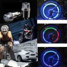 2PCS Flash LED Wheel Valve Caps Lights For Bike Car