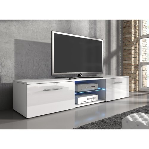 "e-Com - TV Unit Cabinet Stand Sideboard ""SAMUEL"" With blue LED- 150 cm"