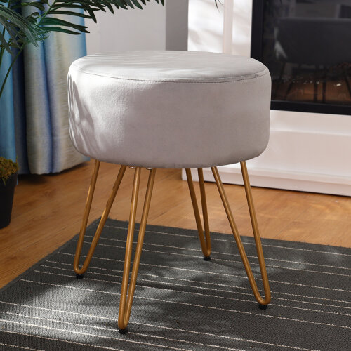 (Grey) Footstool Ottoman Dressing Table Stool Chair Makeup Seat