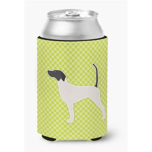 English Pointer Checkerboard Green Can or Bottle Hugger