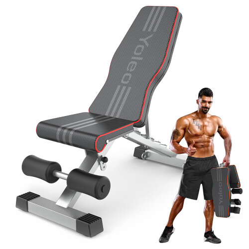 YOLEO Commercial Weight Bench, Adjustable/Foldable Strength Training Bench, Utility Incline/Decline Bench for Full Body Workout - Fast Folding