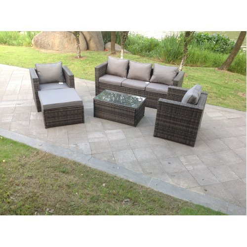 Fimous 6 Seater Rattan Garden Sofa Set With Footstool & Coffee Table