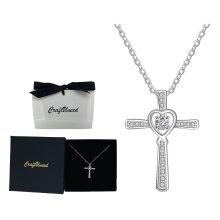 Craftuneed 925 silver zircon heart cross pendant necklace baptism jewellery gift