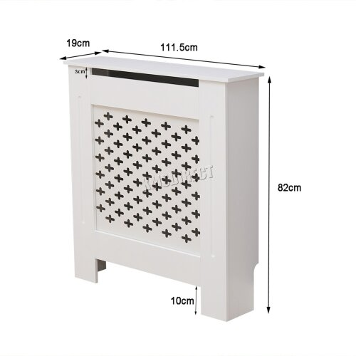 (RC-06, White) WestWood Radiator Cover - White Or Grey Wooden Radiator Wall Shelves Cabinet