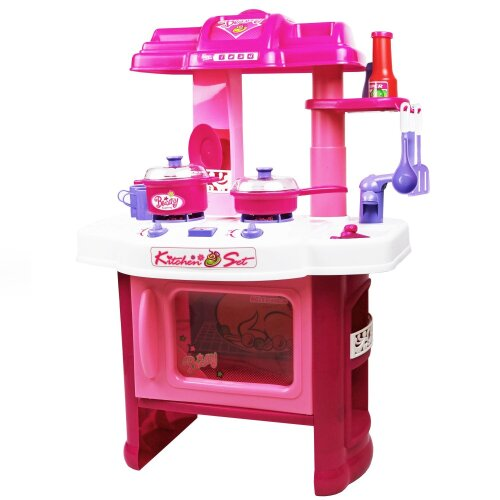 Oypla Childrens Kids Girl Pink Play Electronic Kitchen Cooking Playset