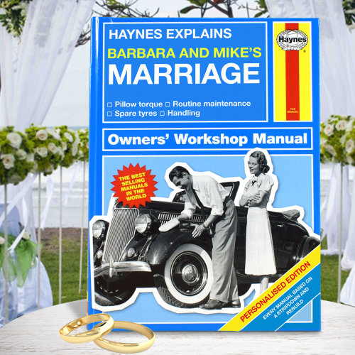 Personalised Haynes Explains Marriage Manual Funny Book Humour Joke Couples Gift