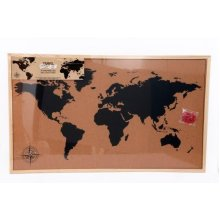 60X90 Framed Cork Board World Map With Pins