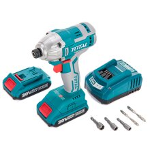 Cordless Impact Driver 20V Lithium Ion Battery 2Ah Charger & Carry Case Included   TOTAL TOOLS