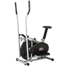 Cross trainer & exercise bike with LCD display - black