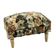 Rectangular Dog Tapestry Footstool with Drawer