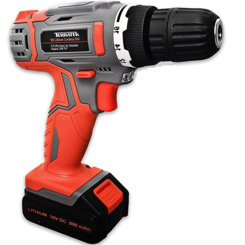 Terratek 18V Lithium-Ion Cordless Drill   13 Piece Electric Drill Set