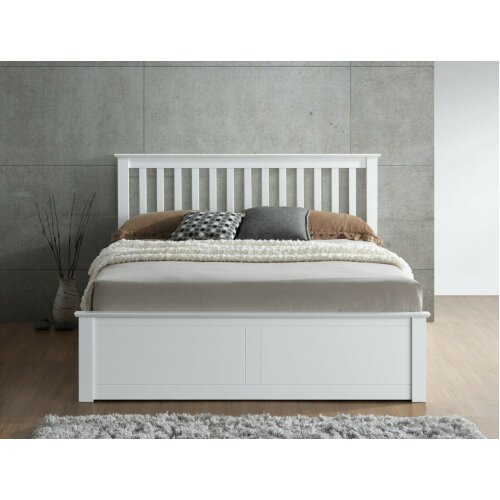 (4FT6 Double) Melbourne White Wooden Ottoman Storage Bed