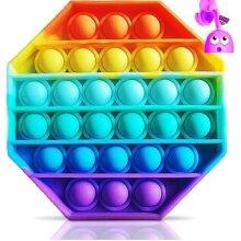 Rainbow Colour Push Bubble Pop Bubble Sensory Fidget. Octagon Rainbow