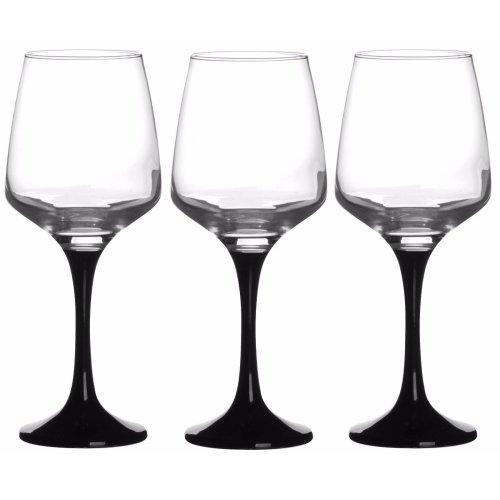 Set of 3 Black Stemmed Red White Wine Glasses 295cc capacity 10oz