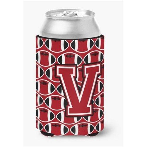 Letter V Football Red, Black & White Can or Bottle Hugger