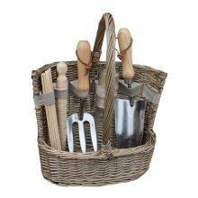 Antique Wash Deluxe Garden Tool Basket