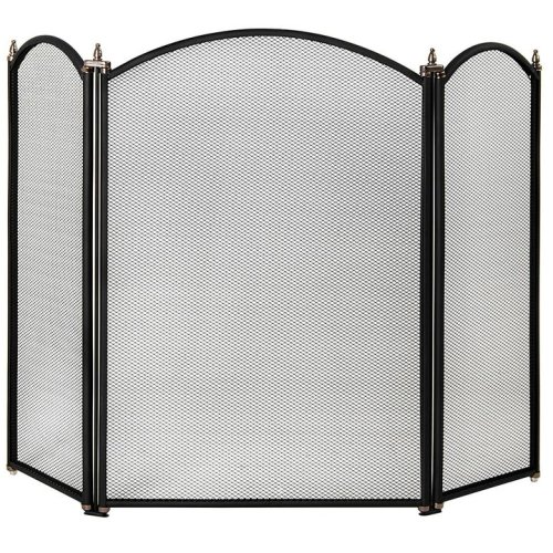 Selby 3 Panel Fire Screen Guard Protector Fireplace Accessory Black