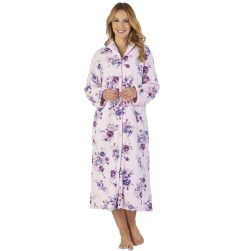 Slenderella HC2312 Women's Coral Fleece Floral Robe Loungewear Bath Dressing Gown