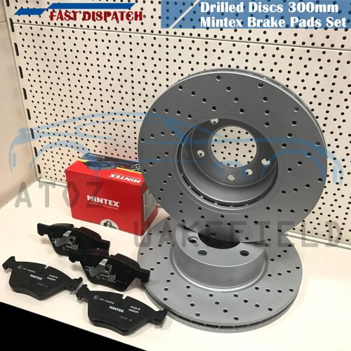 FOR BMW 320d E90 E91 E92 E93 FRONT KINETIX DRILLED BRAKE DISCS MINTEX PADS 300mm