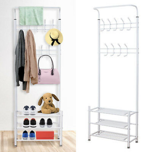 Metal Hat and Coat Stand Home Office Clothes Shoes Rack Steel Stand