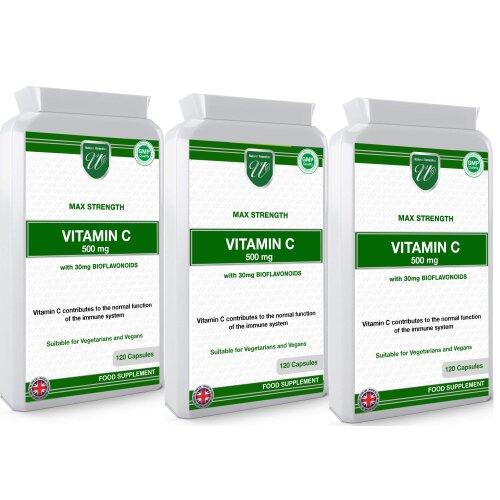 (360 Vegan Capsules) Vitamin C 500mg 1000mg per Serving Made in the UK