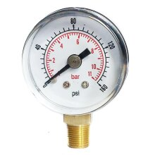 Pressure Gauge 40mm Dial 0/160 PSI 0/10 Bar 1/8 BSPT Bottom Connection