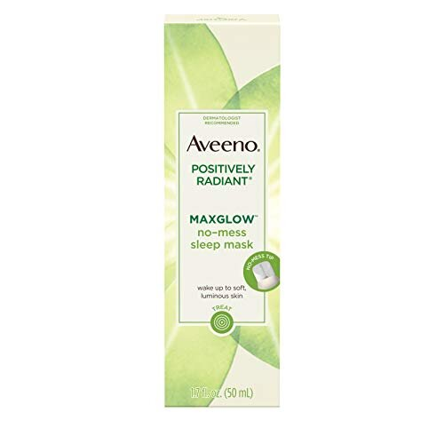 Aveeno Positively Radiant MaxGlow No-Mess Hydrating Sleep Mask with Moisture Rich Soy & Kiwi Complex, Hypoallergenic, Non-Comedogenic, Paraben- & Phth