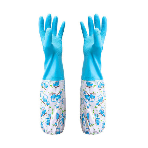 TRIXES Pair of Pond Gutter Drain Cleaning Rubber Gloves - Long Arm - One Size – Blue Pattern