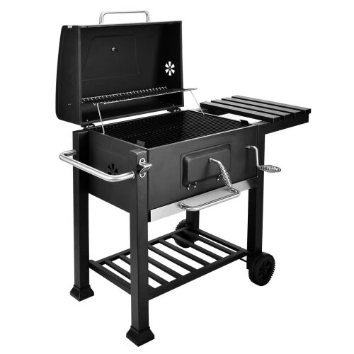 Large Charcoal Big Square BBQ Grill Garden Barbecue Trolley Outdoor With Wheels