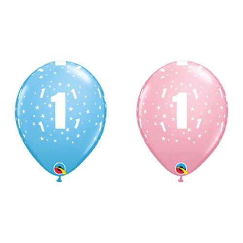 Qualatex 11 Inch 1st Birthday Star Print Latex Balloons (Pack Of 6)