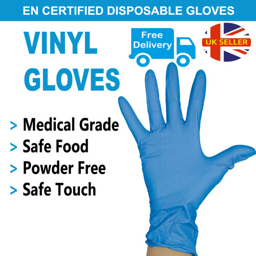 (Medium) Disposable Gloves Vinyl Powdered Latex Free 100PCS