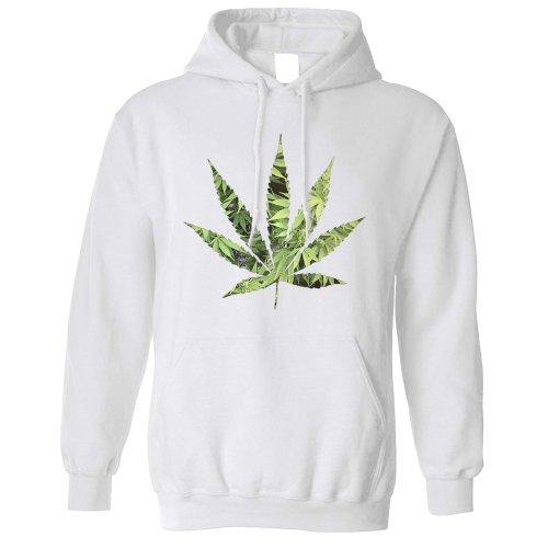 (L, White) Recreational Hoodie Marijuana Leaf Cutout Cannabis Dope Logo Chill Fun Hooded