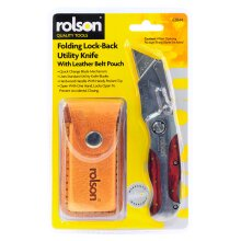 Rolson Folding Lock - Back Utility Knife with Leather Belt Pouch