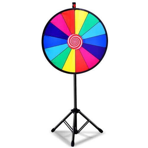 """24/"""" Color Prize Wheel Dry Erase Fortune Spinning Tabletop Floor Stand Detachable"""