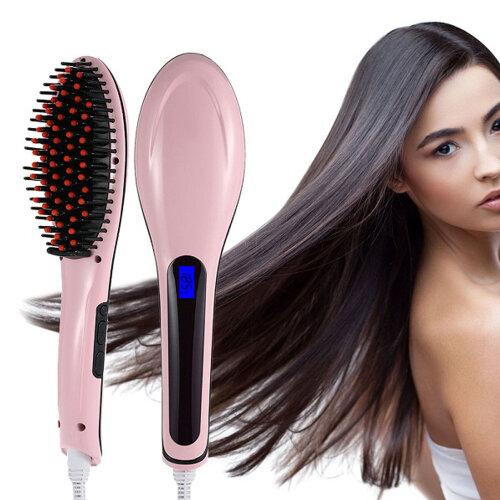Hair Straightener Brush with LCD Screen