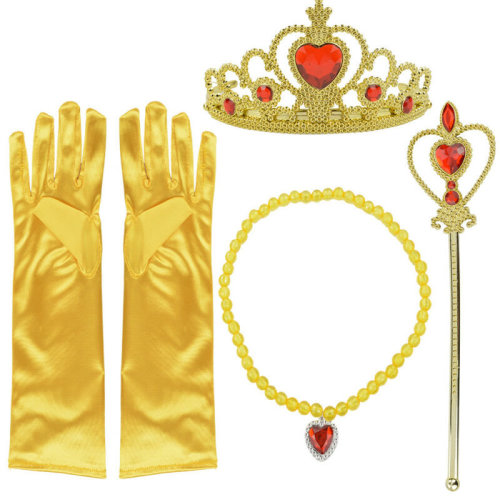 5pcs Princess Belle Dress up Party Accessory Gift Set Gloves Wand Tiaa Necklace