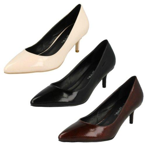 Ladies Anne Michelle Kitten Heel Crinkle Patent Court Shoes