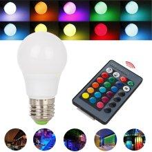 RGB+W LED Light Bulb E27 5W 16 Color Changing Magic Lamp Remote Control