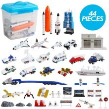 deAO 44 Pieces Astronaut Space Ship Shuttle Rocket Pretend Play Set with Aerospace Control Centre and Accessories Included