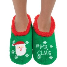 Snoozies! Xmas Family Mr Claus Mens Small Size 6-7 Super Soft Non Slip